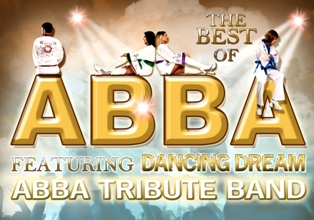 promotional image for ABBA tribute band Dancing Dream. 4 band members posed atop golden letters ABBA