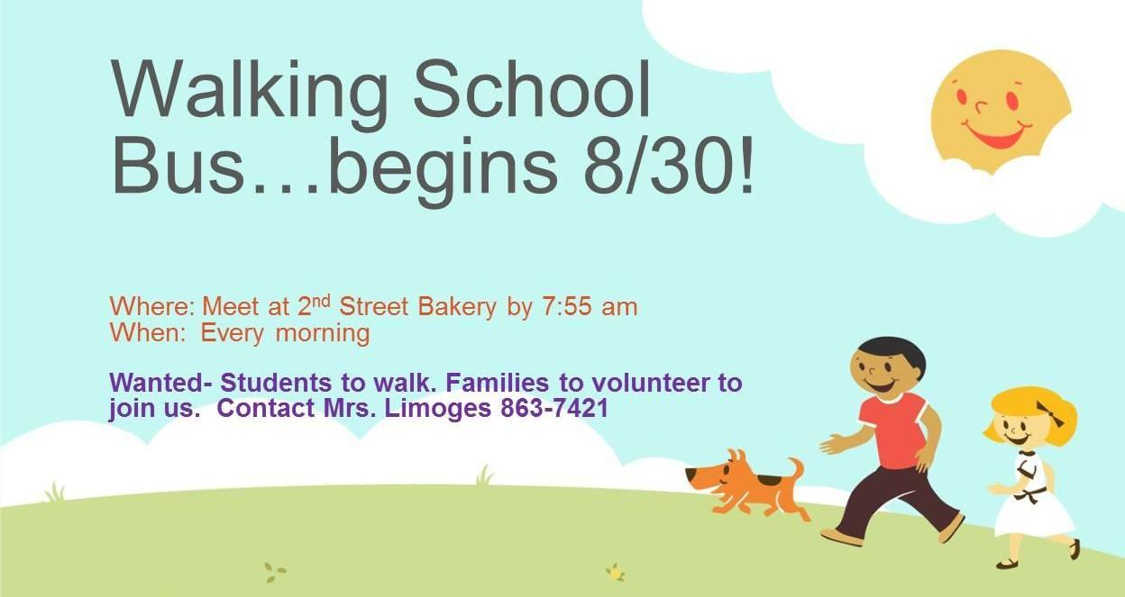 """announcement about the Sheffield """"walking school bus,"""" which departs from the 2nd St Bakery each morning at 7:55"""